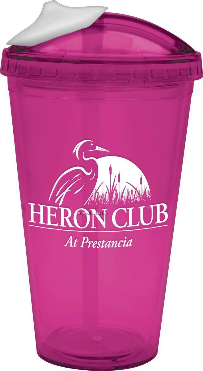 18 Oz. Pink Bpa Free Acrylic Slide Lid Carnival Cup