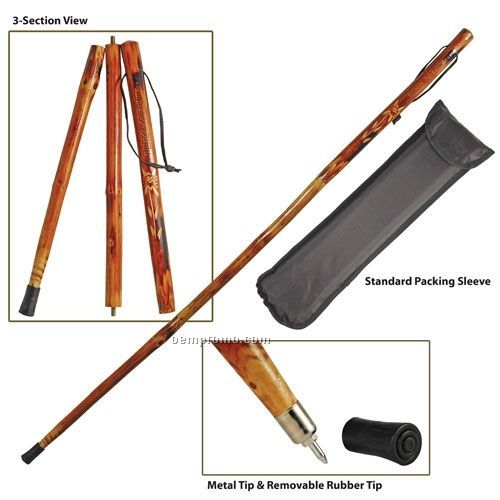"""60"""" 3 Section Wooden Hiking Stick"""