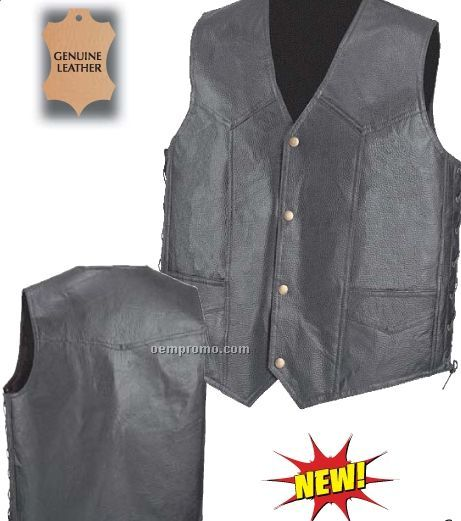 Diamond Plate Hand-sewn Pebble Grain Genuine Leather Vest (M)