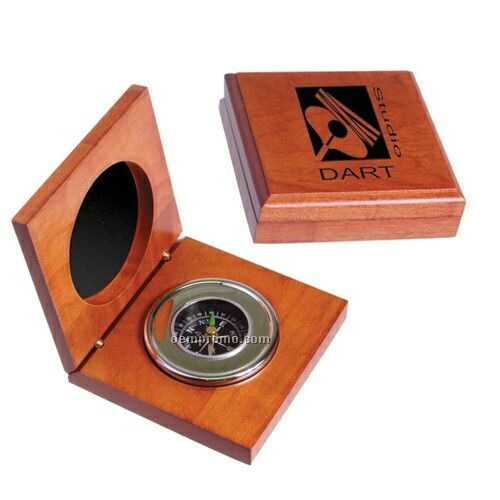 Executive Compass In Wood Box