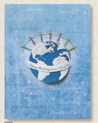 Foreign Language Happy Birthday Greeting Card With Earth Seed