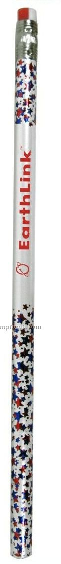 Patriotic Foiled Pencil W/Red & Blue Stars