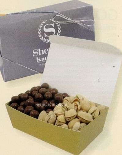 2 Way Treasure Box W/ Mixed Nuts & Chocolate Pretzels
