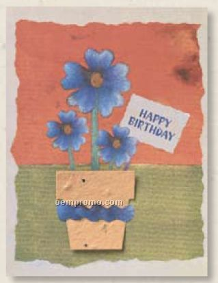 Happy Birthday Card With Flower Pot Seed Decoration