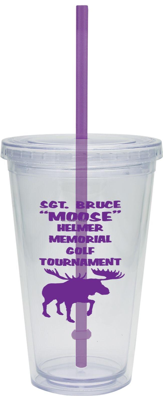 20 Oz. Carnival Cup W/ Purple Straw