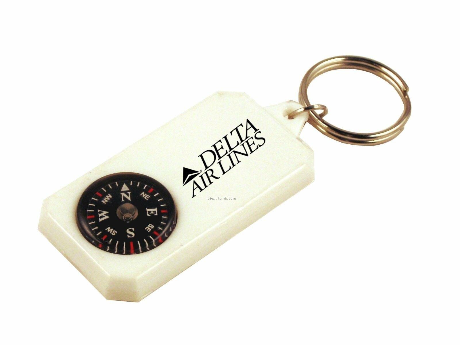 Compass On Plastic Panel W/Key Ring