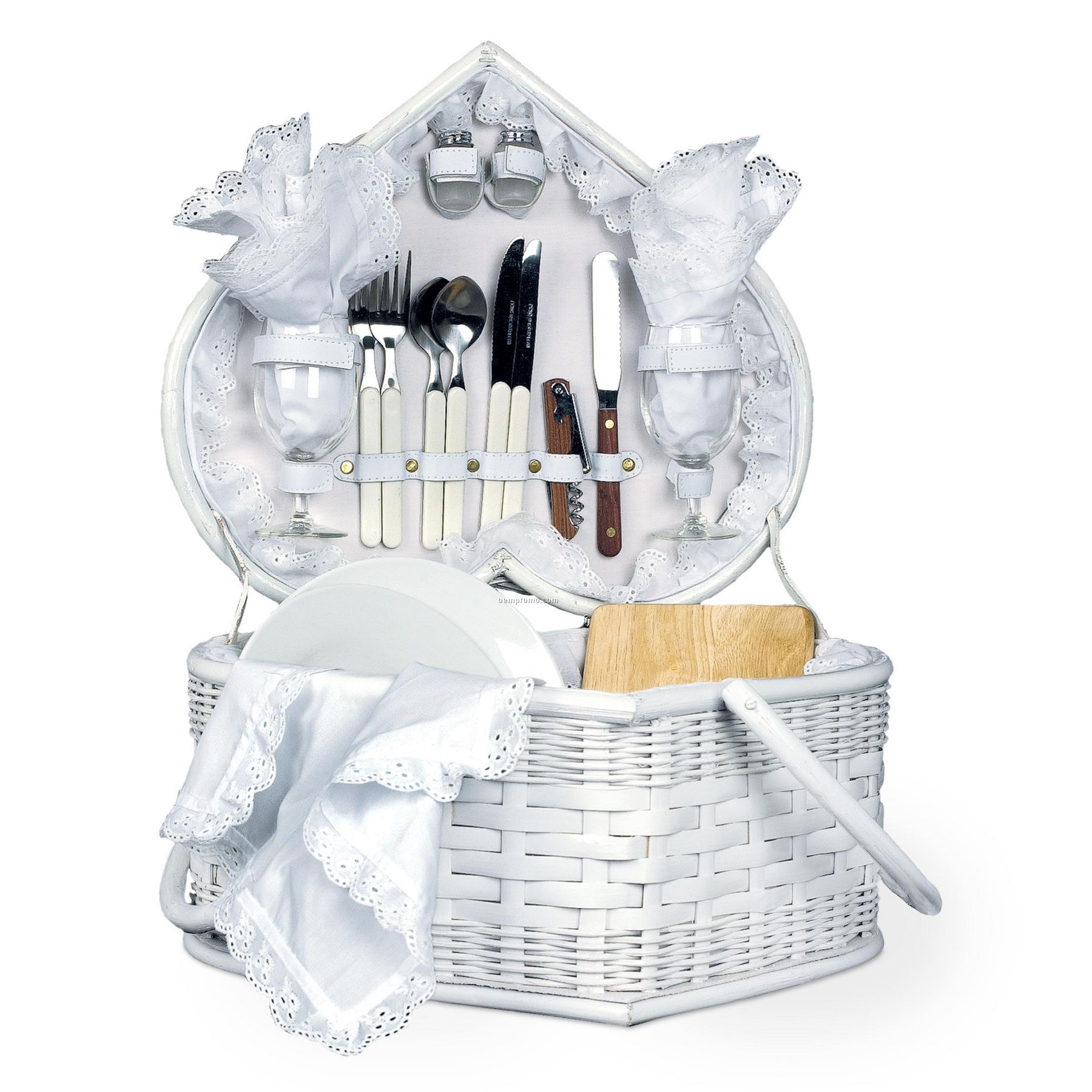 Wedding Gift Basket Ideas: Wedding Heart White Picnic Basket W/ Deluxe Service For 2
