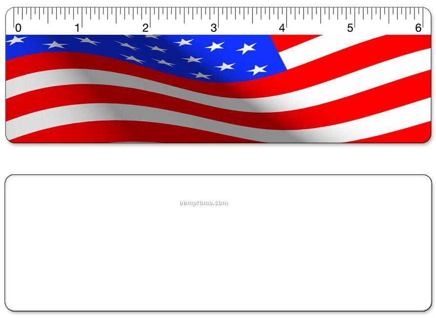 "6"" Ruler, Usa Flag Lenticular Animation Stock Design, Blank"