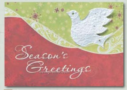"""Soaring Spirits"" Holiday Greeting Card With Dove Ornament"