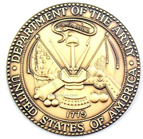 """2-1/2"""" Military Seal/ Coin (Department Of The Army) Brass"""