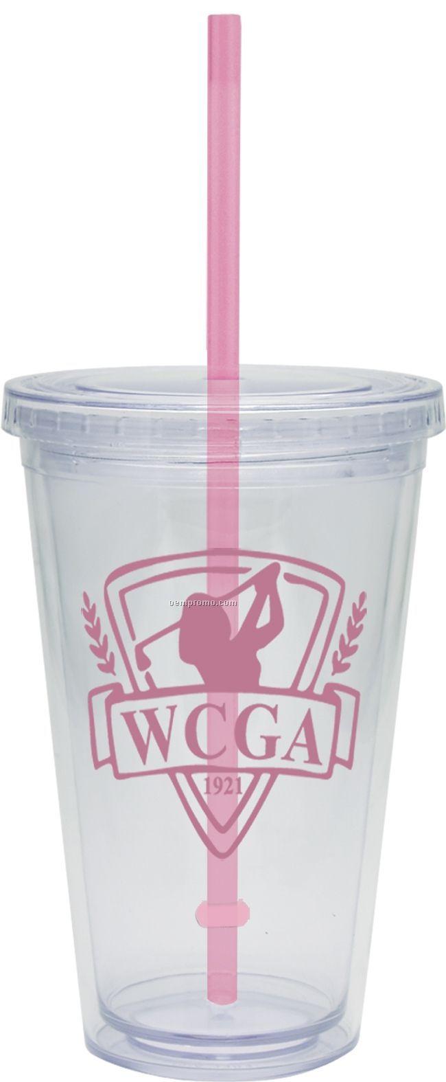 20 Oz. Carnival Cup W/ Pink Straw