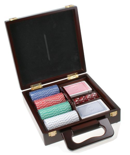 Casino Poker Chip/ Card Set In Wooden Box