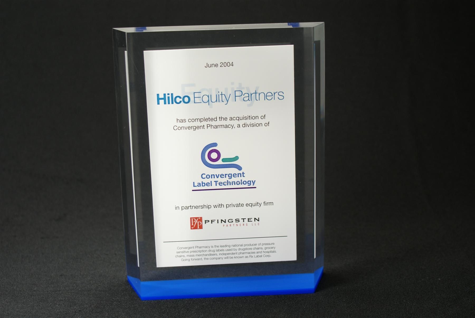 "Lucite Rectangle Embedment Award (5""X6""X7/8"")"