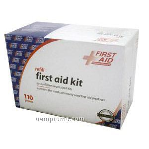 110 Piece First Aid Refill Box - Imprinted