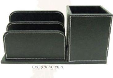 Black 3 Divider Cowhide Desk Organizer W/ Pen Box