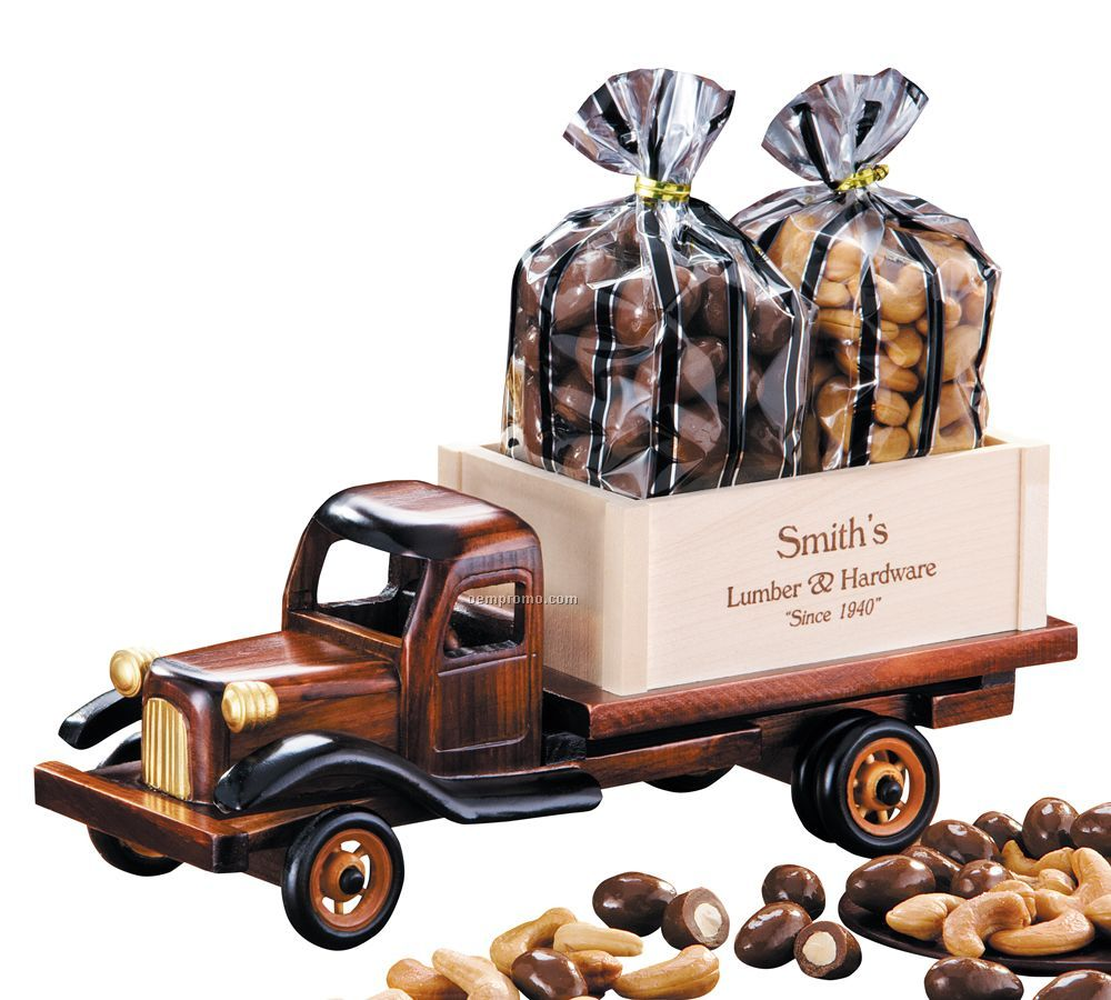 1950's Flat Bed Truck W/ Chocolate Almonds And Jumbo Cashews