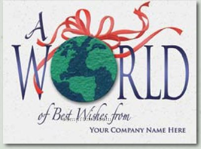 """""""A World Of Wishes"""" Holiday Greeting Card With Earth Ornament"""
