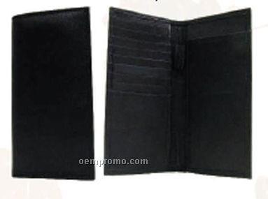 Lambskin Double Checkbook Wallet W/Credit Card Pockets
