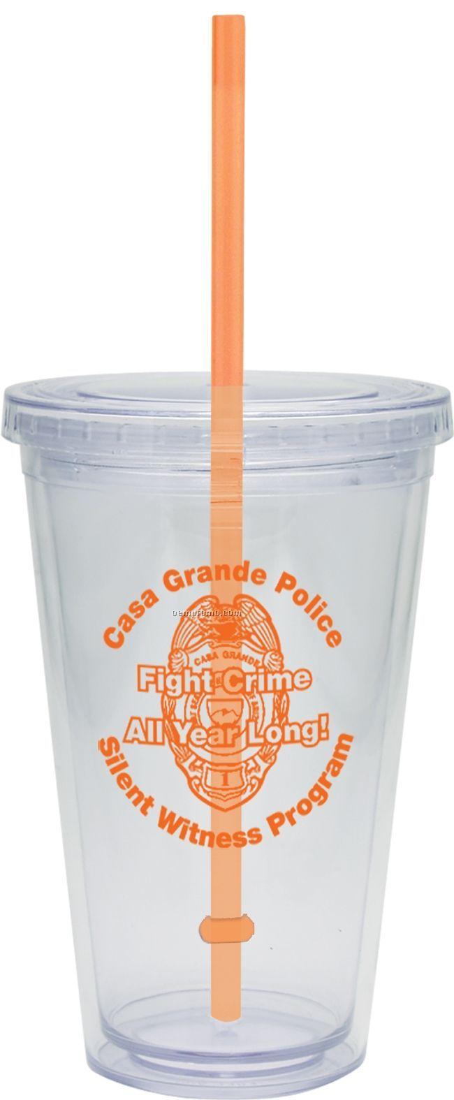 20 Oz. Carnival Cup W/ Orange Straw