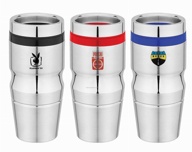 Travel mug tumbler 16 oz stainless steel plastic - Travel mug stainless steel interior ...