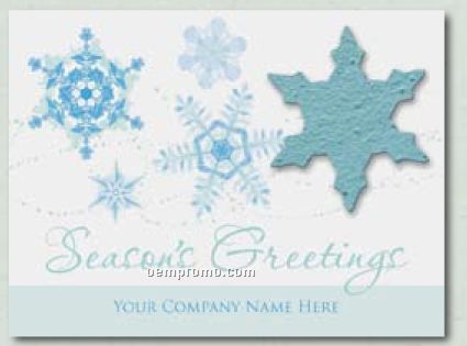 """""""Crystal Blue"""" Holiday Greeting Card With Snowflake Ornament"""