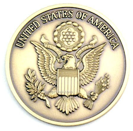 """2-1/2"""" Military Seal/Coin (The Us Of America W/ Eagle) Brass"""