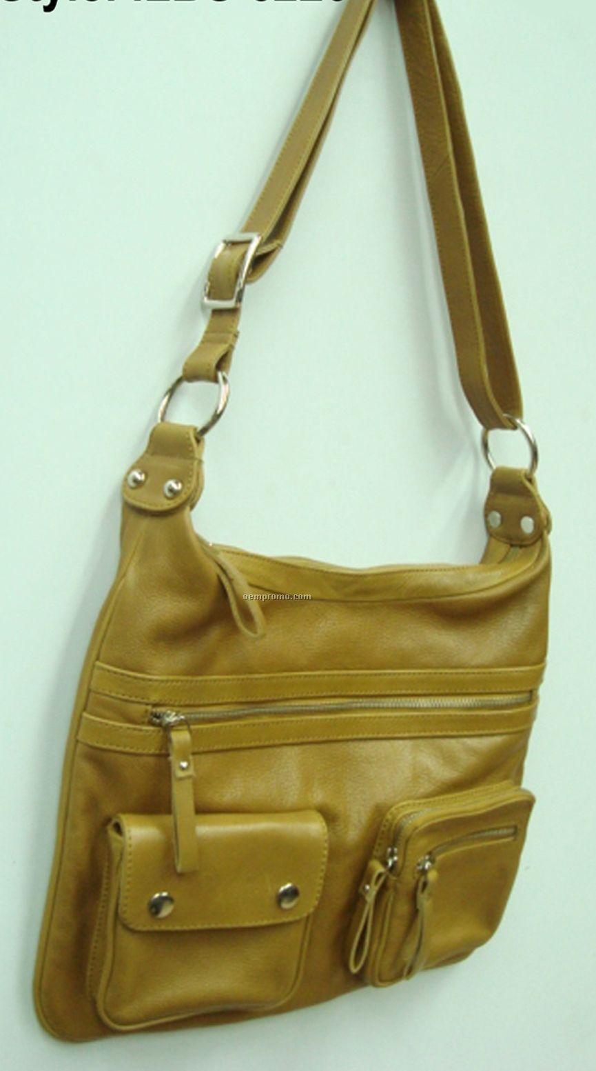 Green Purse W/ Outside Zipper & Strap Pocket