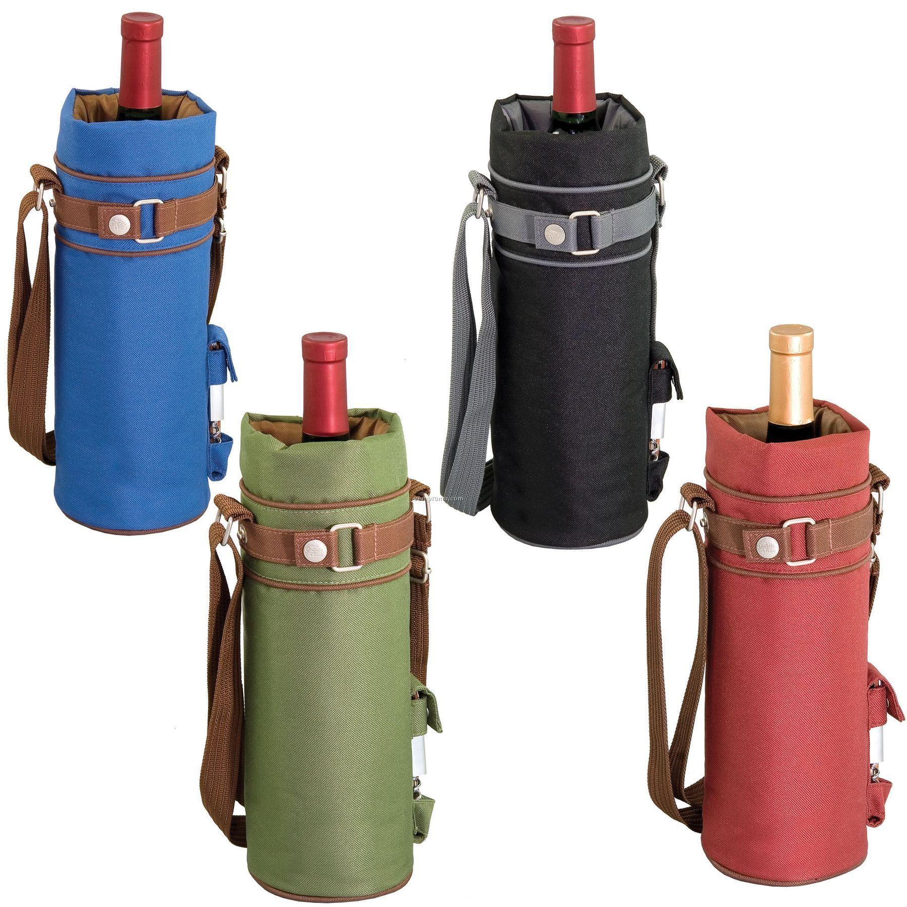 Wine Sack Single Bottle Canvas Duffel Bag W/ Corkscrew - Solids