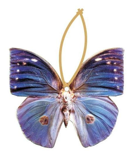 Blue Butterfly Executive Ornament W/ Mirrored Back (3 Square Inch)