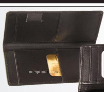 Medium Brown Double Checkbook Cover W/ Pen Loop