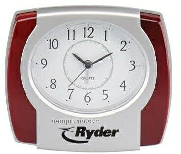 Metallic Silver Quartz Alarm Clock W/ Piano Rosewood Accent