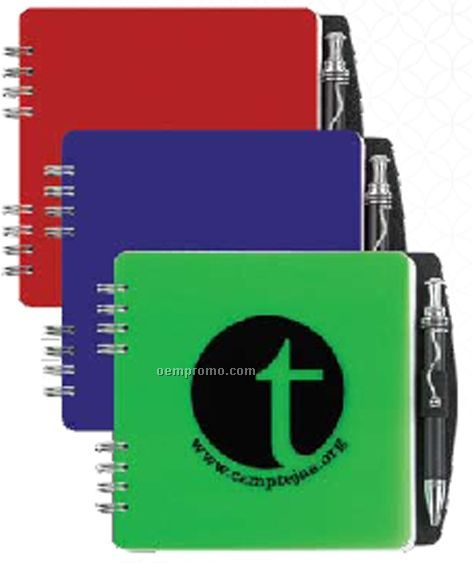 Poly Square Journal W/ Pen Safe Back & Pen