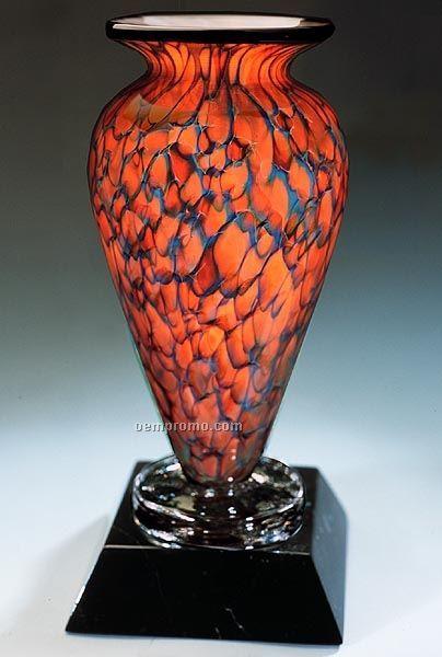 "Topaz Monarch Athena Vase W/ Marble Base (6""X13.5"")"