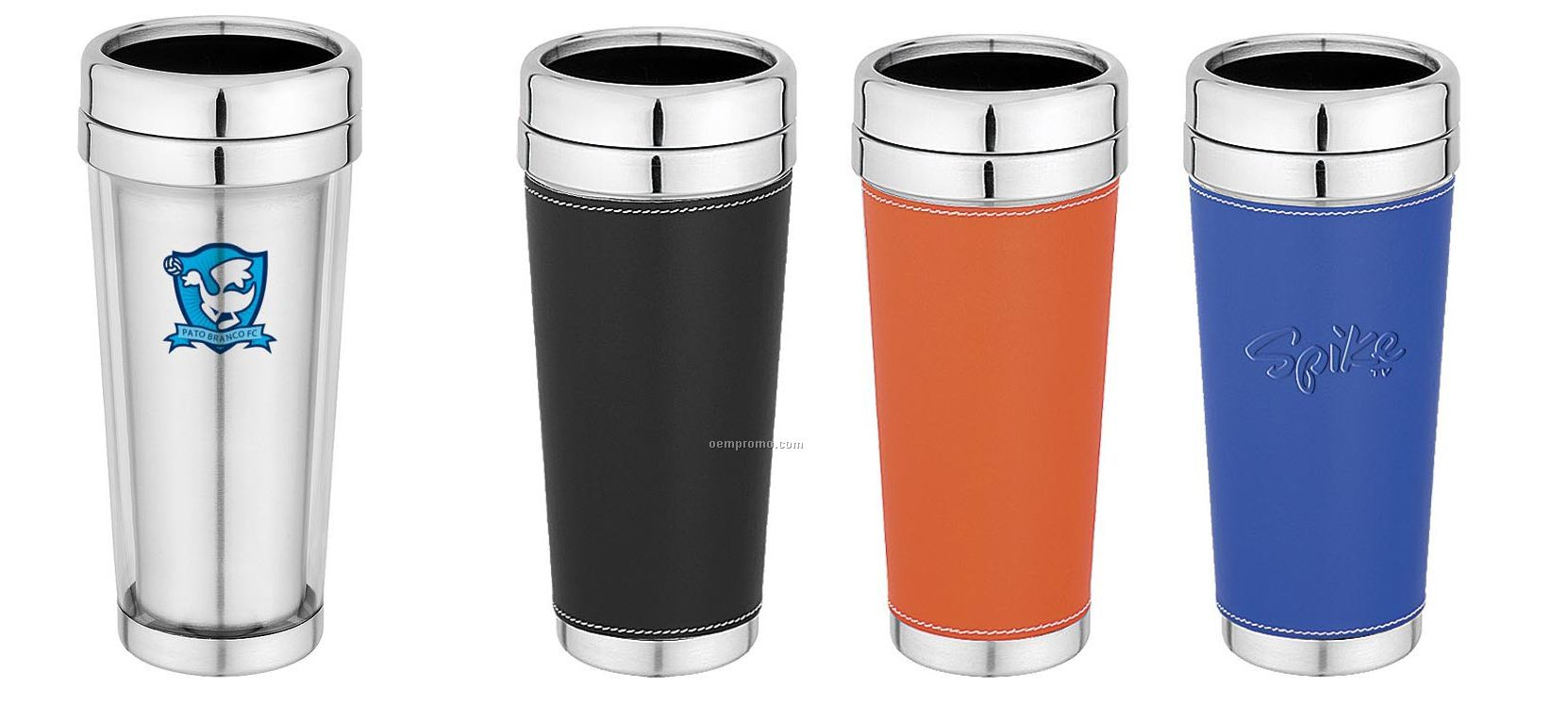 Travel Mug/Tumbler - 16 Oz. Clear Plastic Outer & Stainless Steel Interior