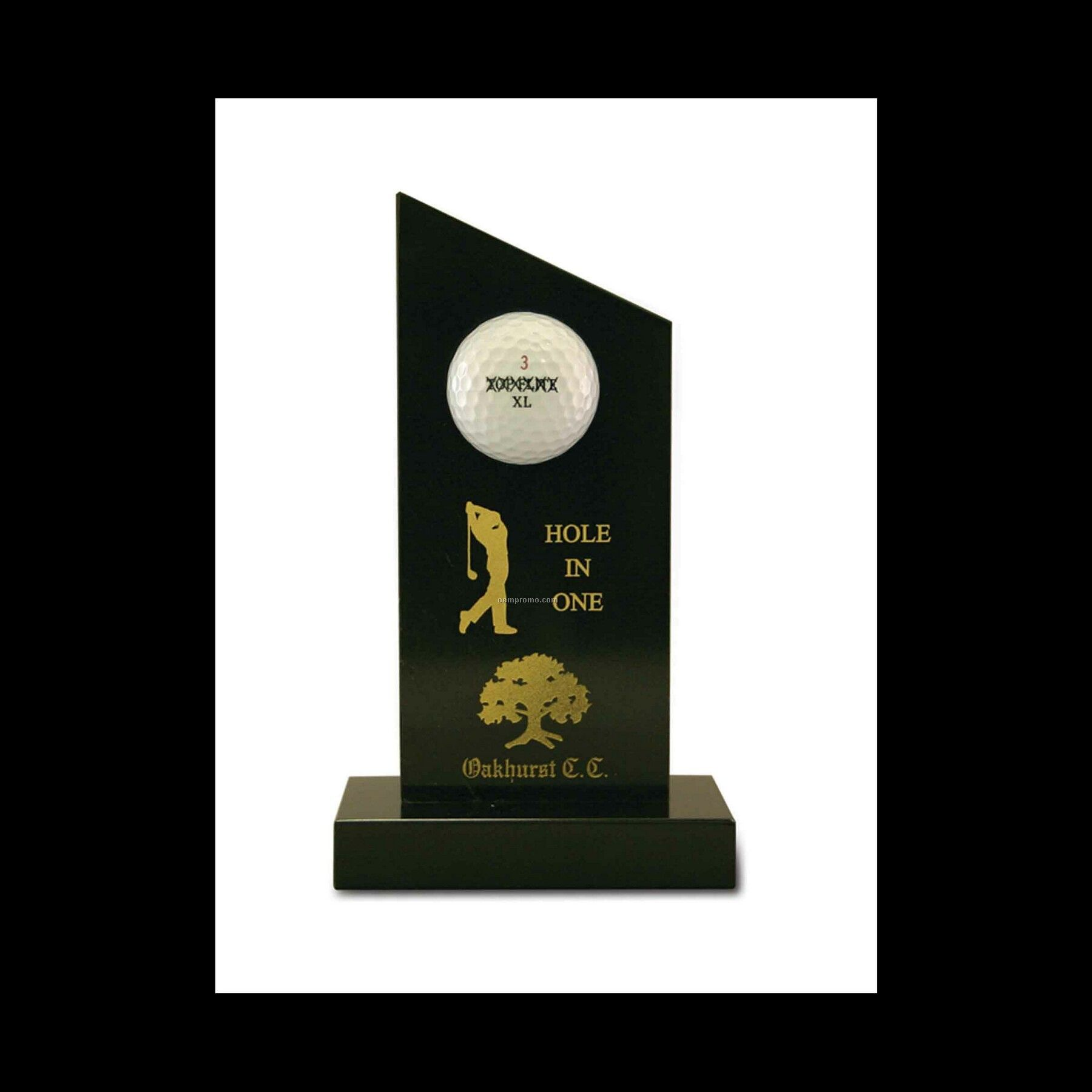 "7-1/2"" Black Marble Hole In One Golf Award"