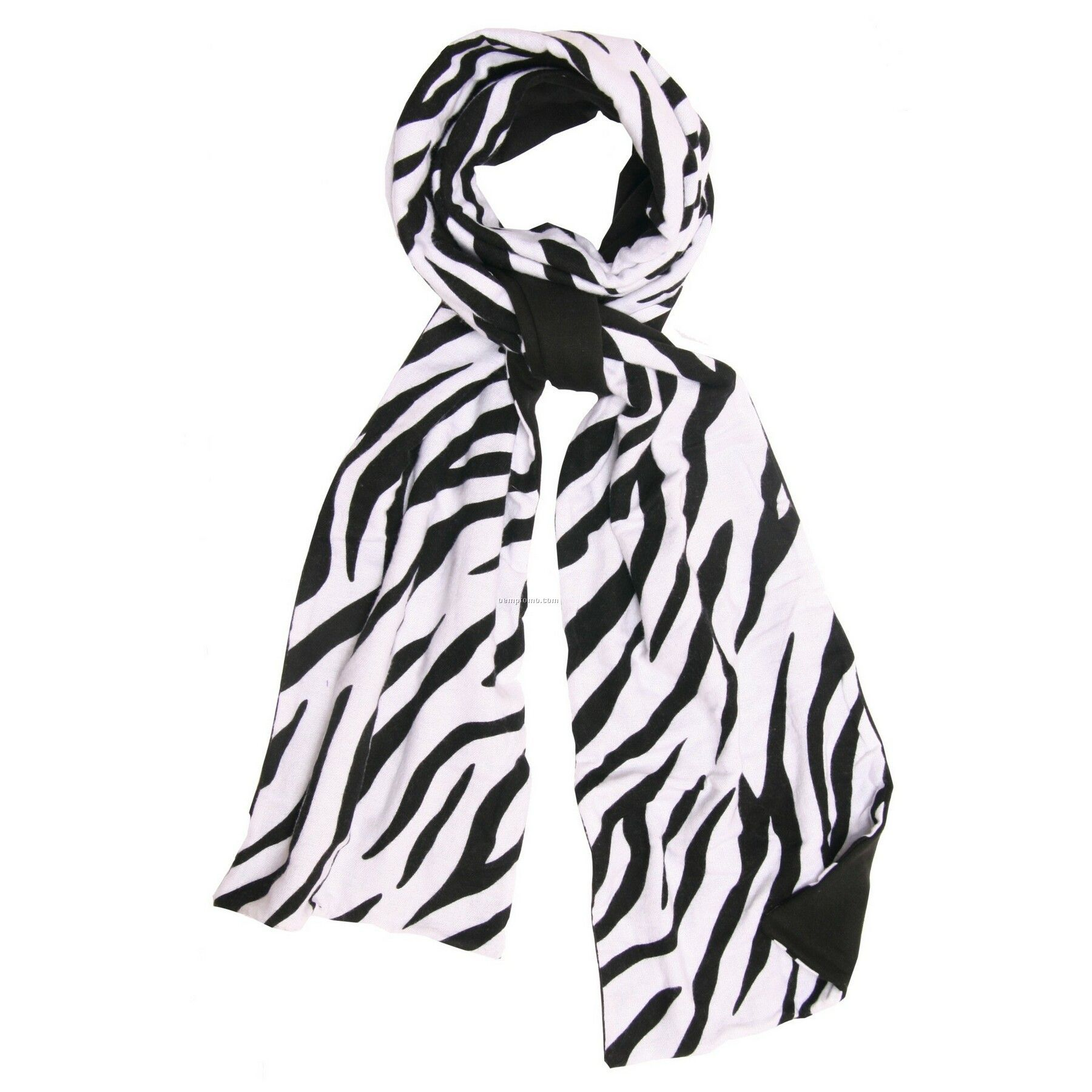 Zebra Flannel Scarf W/Black Fleece