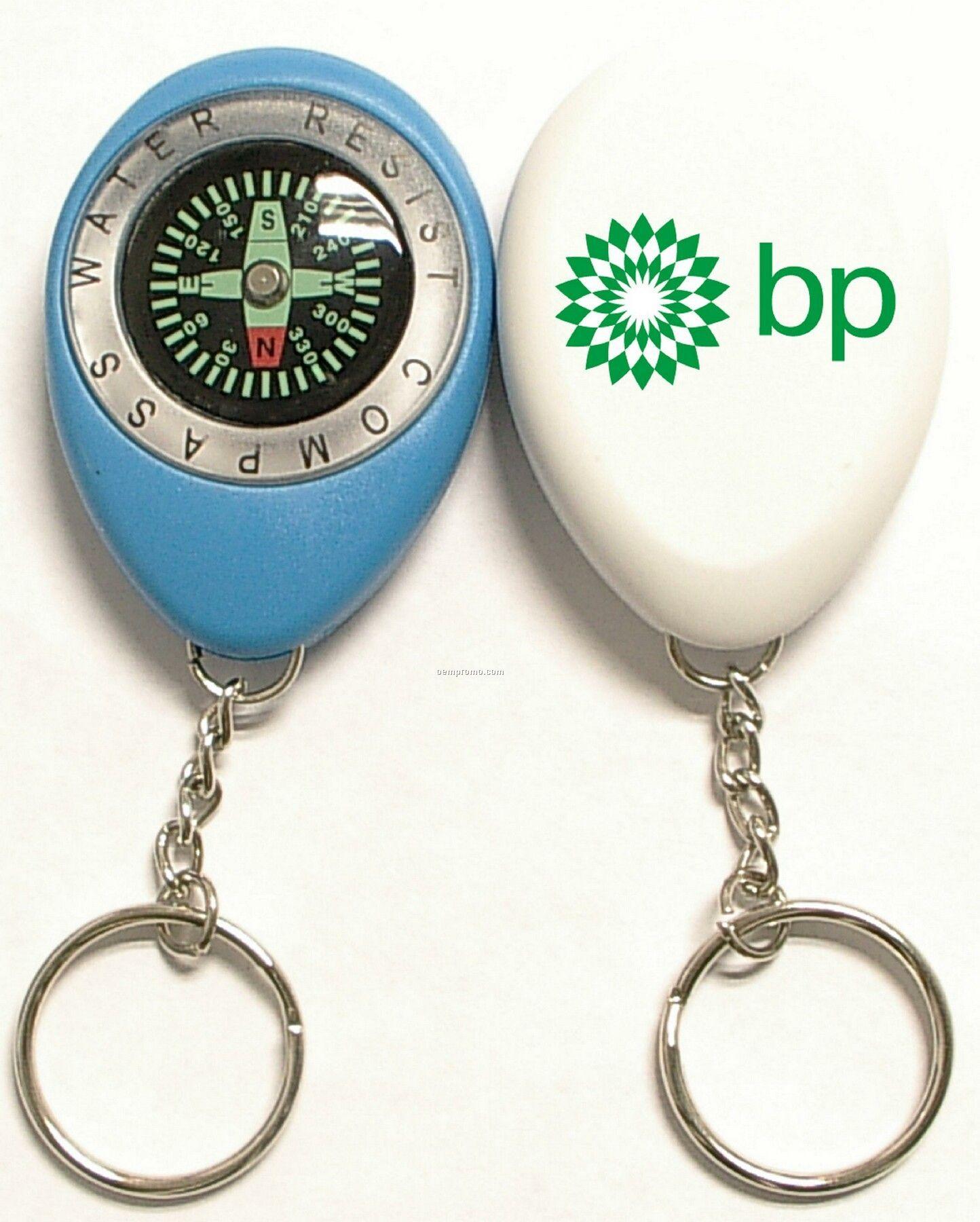 Oval Shape Compass Swivel Keychain
