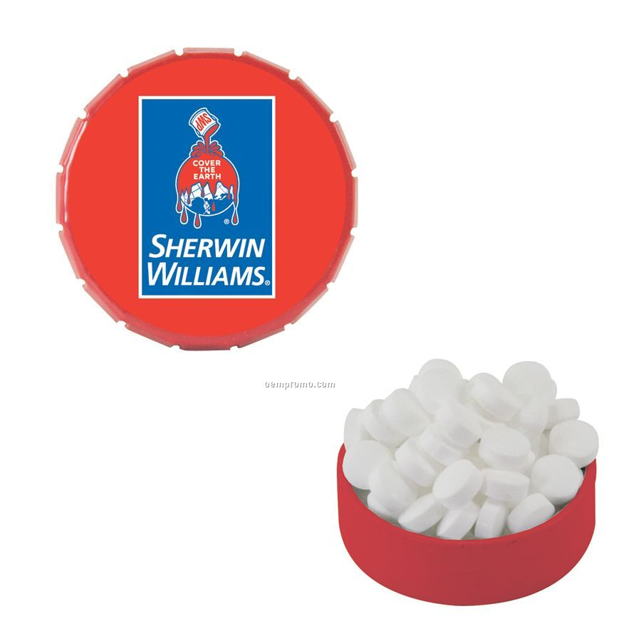 Small Red Snap-top Mint Tin Filled With Sugar Free Mints