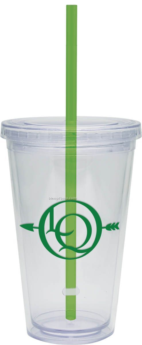 16 Oz. Carnival Cup With Green Straw