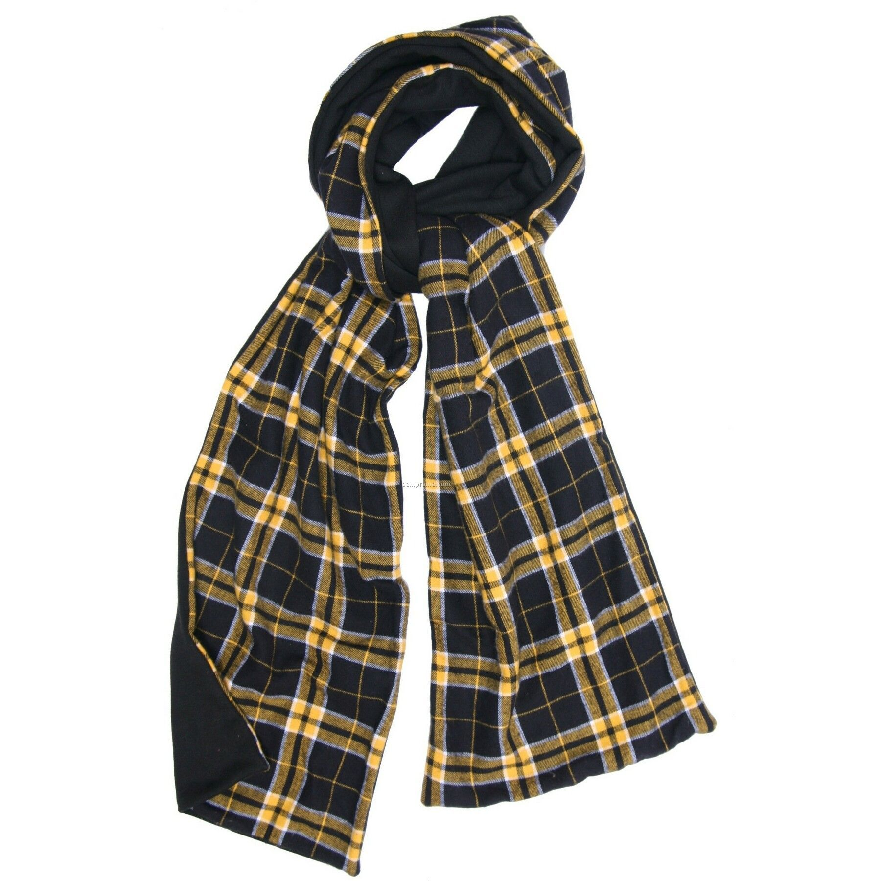 Black/Gold Flannel Scarf W/Black Fleece
