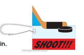 Hockey Puck And Stick Zipper Pull