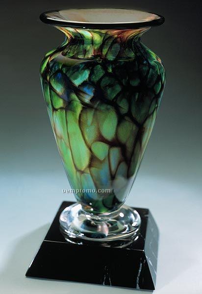 "Jade Monarch Athena Vase W/ Marble Base (3.25""X7"")"