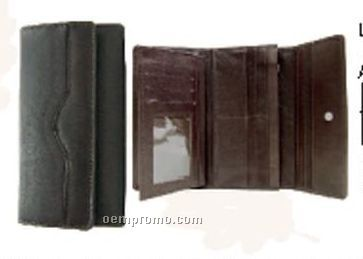 """Ladies Black 7"""" Stone Wash Cowhide Wallet W/ Removable Checkmate"""