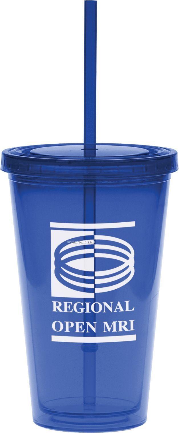 16 Oz. Blue Carnival Cup W/ Straw