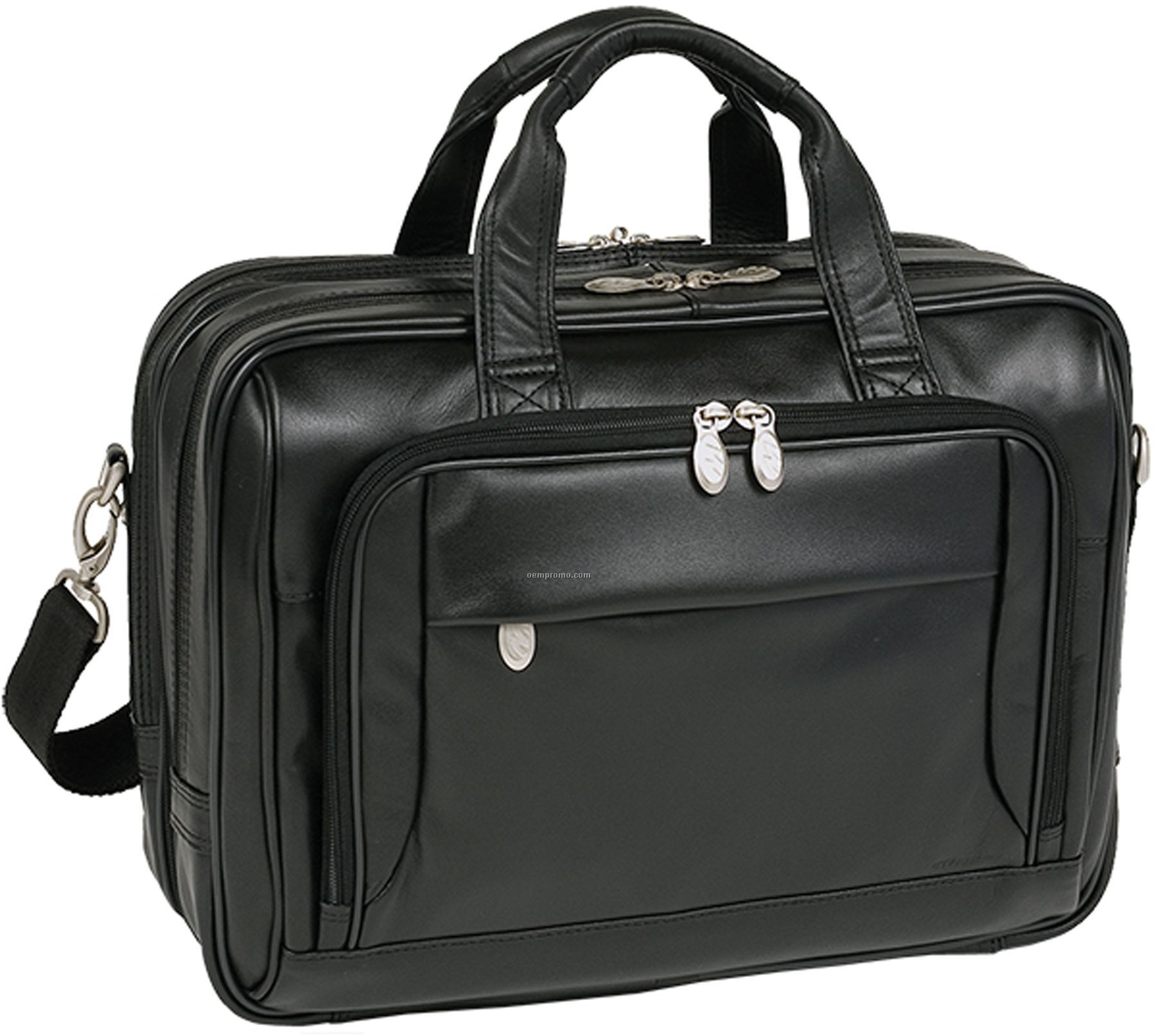 West Loop Leather Expandable Double Compartment Briefcase