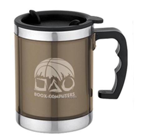 15 Oz Translucent Plastic Tumbler Mug W Stainless Steel Trim China Wholesale 15 Oz