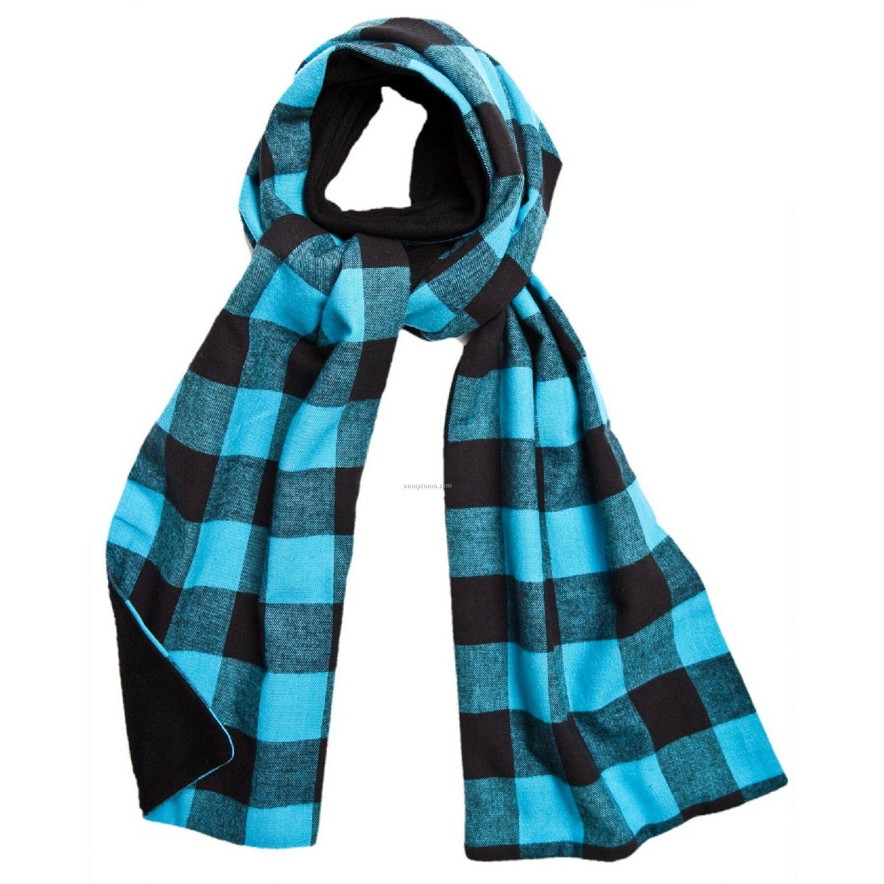 Electric Blue Flannel Scarf W/Black Fleece