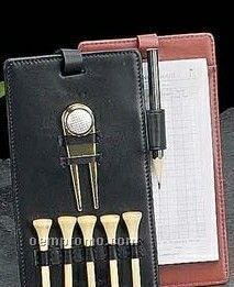 Golf Score Card W/ Tees, Marker & Divot Tool - Brown Leather