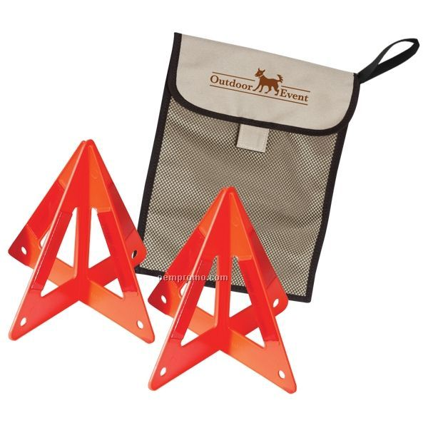 2 Teepee Reflective Roadside Triangle Set W/ Mesh Bag