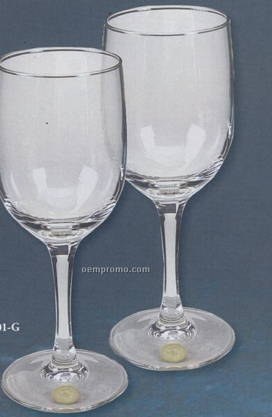 8 Oz. Nordic Wine Glasses - Silver Medallion (Set Of 2)